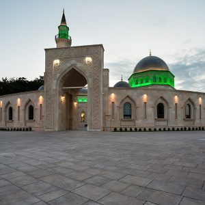 Evening view of Ar Rahma mosque in Kiev, Ukraine