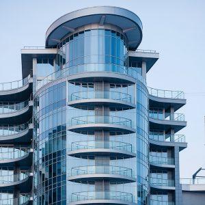 Glass facade on modern building in Kiev, Ukraine